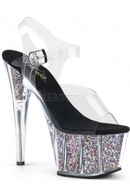 Confetti Filled Clear Platform Adore Sandals at Sensual Elegance Fashion, Lingerie and Shoes, Women's Sexy Clothing & Lingerie - Clubwear, Plus Size Clothing & Accessories