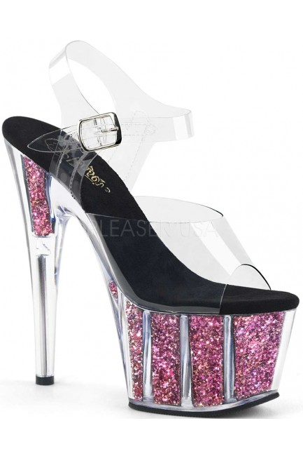 Pink Confetti Filled Clear Platform Adore Sandals at Sensual Elegance Fashion, Lingerie and Shoes, Women's Sexy Clothing & Lingerie - Clubwear, Plus Size Clothing & Accessories