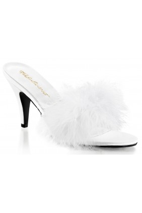 Amour White Maribou Trimmed Slipper