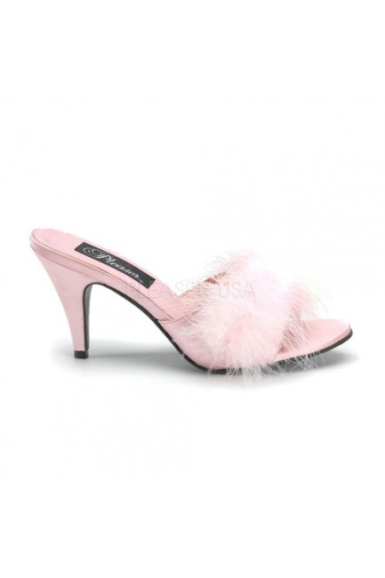Amour Baby Pink Maribou Trimmed Slipper at Sensual Elegance Fashion, Lingerie and Shoes, Women's Sexy Clothing & Lingerie - Clubwear, Plus Size Clothing & Accessories