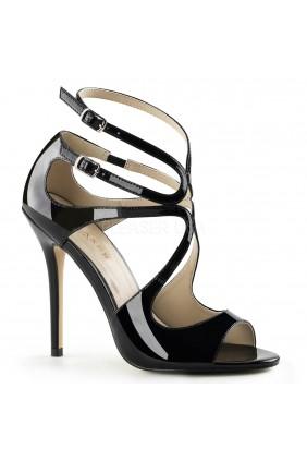 Amuse Black Curvy Sandal Sensual Elegance Fashion, Lingerie and Shoes Women's Very Sexy Lingerie & Clothing - Clubwear, Bridal Lingerie & Plus Size Lingerie