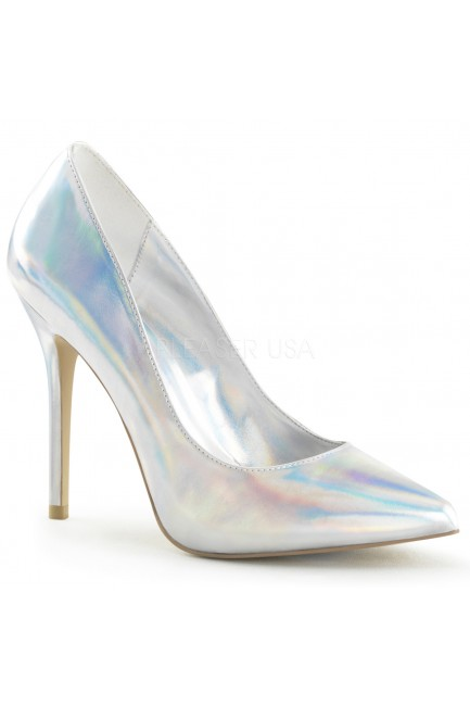 Amuse Silver Hologram 5 Inch High Heel Pump at Sensual Elegance Fashion, Lingerie and Shoes, Women's Sexy Clothing & Lingerie - Clubwear, Plus Size Clothing & Accessories