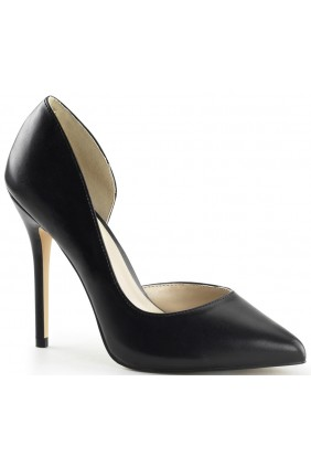 Amuse Black Faux Leather 5 Inch High Open Side Pump