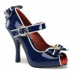Anchor Blue and White Mary Jane Pumps