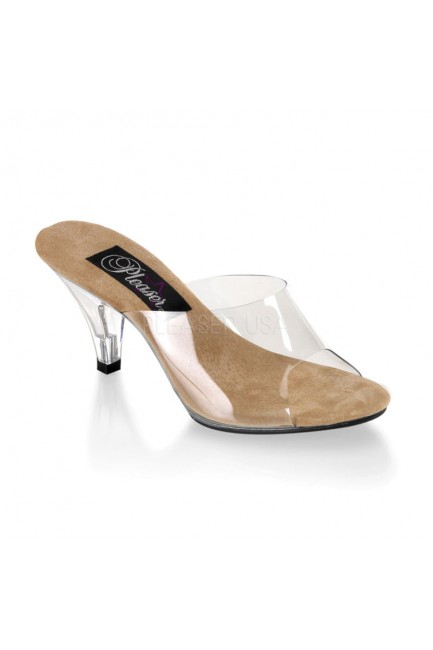 Belle Clear and Tan Peep Toe Slide at Sensual Elegance Fashion, Lingerie and Shoes, Women's Sexy Clothing & Lingerie - Clubwear, Plus Size Clothing & Accessories