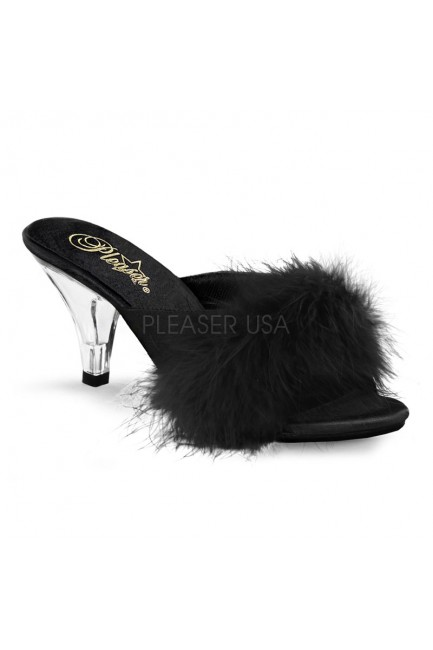 Belle Black Maribou Satin Slipper at Sensual Elegance Fashion, Lingerie and Shoes, Women's Sexy Clothing & Lingerie - Clubwear, Plus Size Clothing & Accessories
