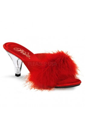 Belle Red Maribou Satin Slipper Sensual Elegance Fashion, Lingerie and Shoes Women's Sexy Clothing & Lingerie - Clubwear, Plus Size Clothing & Accessories
