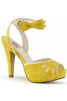 Vintage Bettie Yellow Ankle Bow Peep Toe Pump Sensual Elegance Fashion, Lingerie and Shoes Women's Sexy Clothing & Lingerie - Clubwear, Plus Size Clothing & Accessories