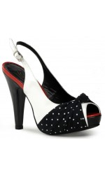 Bettie Slingback Black and White Vintage Shoe