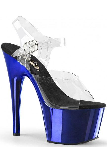 Blue Chrome Platform Clear Strap Platform Sandal at Sensual Elegance Fashion, Lingerie and Shoes, Women's Sexy Clothing & Lingerie - Clubwear, Plus Size Clothing & Accessories