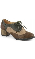 Russell Womens Wingtip Oxford in Tan and Brown