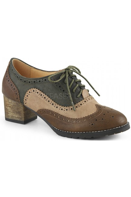 Russell Womens Wingtip Oxford in Tan and Brown at Sensual Elegance Fashion, Lingerie and Shoes, Women's Sexy Clothing & Lingerie - Clubwear, Plus Size Clothing & Accessories