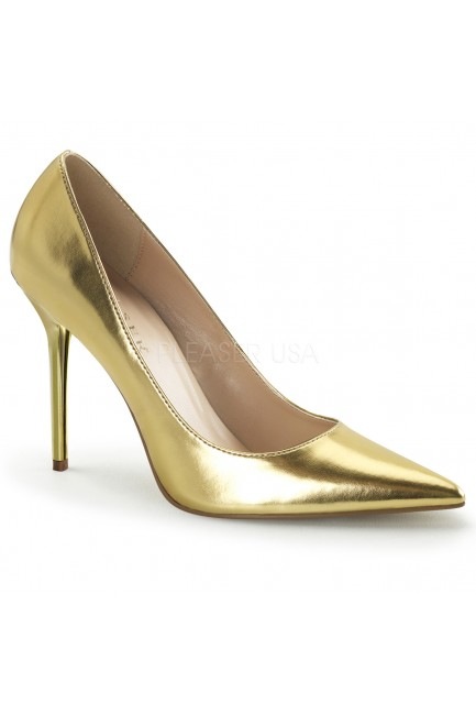 Gold Classique Pointed Toe Pump at Sensual Elegance Fashion, Lingerie and Shoes, Women's Sexy Clothing & Lingerie - Clubwear, Plus Size Clothing & Accessories