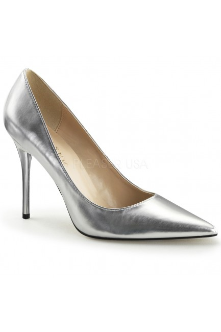 Silver Metallic Classique Pointed Toe Pump at Sensual Elegance Fashion, Lingerie and Shoes, Women's Sexy Clothing & Lingerie - Clubwear, Plus Size Clothing & Accessories