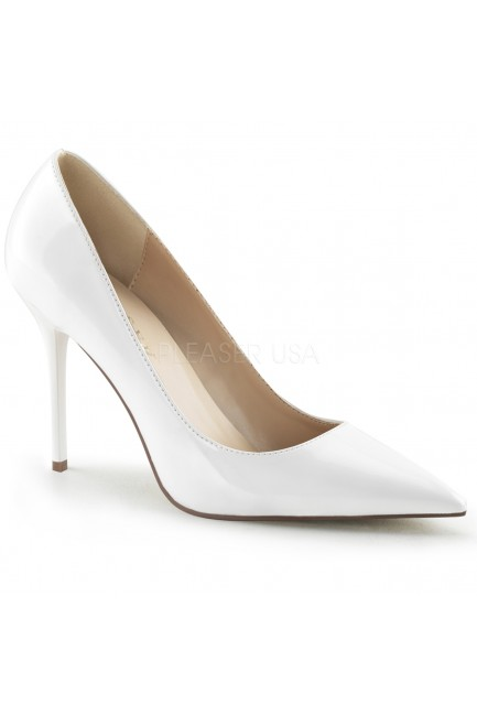 White Classique Pointed Toe Pump at Sensual Elegance Fashion, Lingerie and Shoes, Women's Sexy Clothing & Lingerie - Clubwear, Plus Size Clothing & Accessories