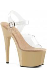 Cream Platform Clear Strap Platform Sandal
