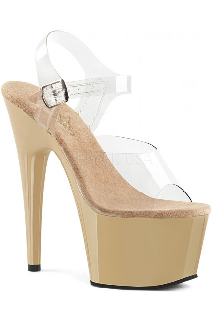 Cream Platform Clear Strap Platform Sandal at Sensual Elegance Fashion, Lingerie and Shoes, Women's Sexy Clothing & Lingerie - Clubwear, Plus Size Clothing & Accessories
