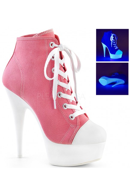 Pink and White High Heel Platform Sneaker at Sensual Elegance Fashion, Lingerie and Shoes, Women's Very Sexy Lingerie & Clothing - Clubwear, Bridal Lingerie & Plus Size Lingerie