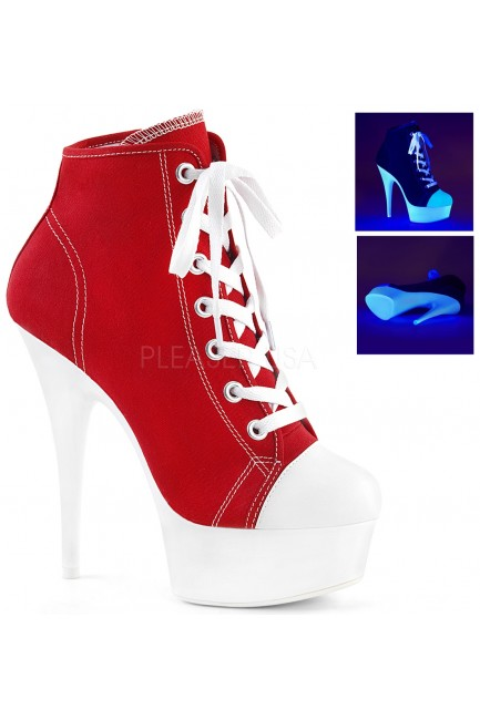 Red and White High Heel Platform Sneaker at Sensual Elegance Fashion, Lingerie and Shoes, Women's Sexy Clothing & Lingerie - Clubwear, Plus Size Clothing & Accessories