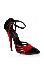 Domino High Heel Red and Black D-Orsay Pump