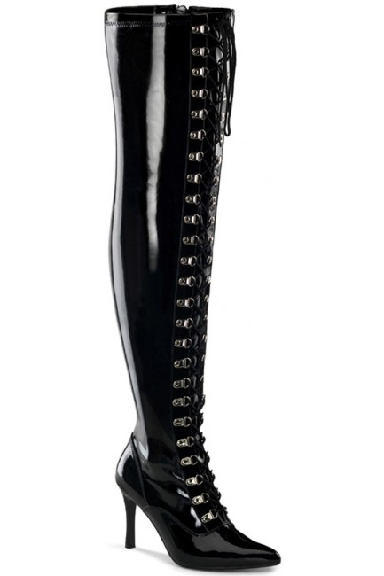 Dominatrix Wide Width Black Thigh High Boots at Sensual Elegance Fashion, Lingerie and Shoes, Women's Sexy Clothing & Lingerie - Clubwear, Plus Size Clothing & Accessories