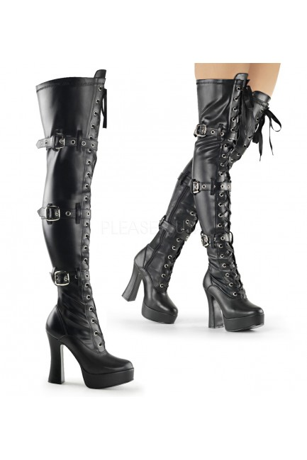 Electra Black Buckled Thigh High Platform Boots at Sensual Elegance Fashion, Lingerie and Shoes, Women's Sexy Clothing & Lingerie - Clubwear, Plus Size Clothing & Accessories