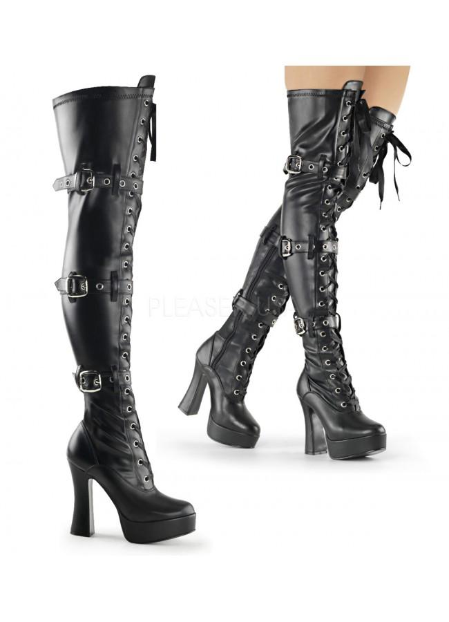 Electra Black Buckled Thigh High Platform Boots at Sensual Elegance Fashion 83fc17718e0c