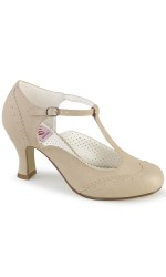 Flapper Cream T-Strap Pump