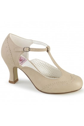 Flapper Cream T-Strap Pump Sensual Elegance Fashion, Lingerie and Shoes Women's Sexy Clothing & Lingerie - Clubwear, Plus Size Clothing & Accessories