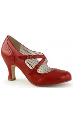 Cross Strap Flapper Red Vintage Heel Shoe