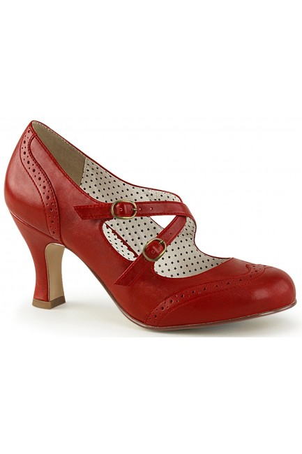 Cross Strap Flapper Red Vintage Heel Shoe at Sensual Elegance Fashion, Lingerie and Shoes, Women's Sexy Clothing & Lingerie - Clubwear, Plus Size Clothing & Accessories