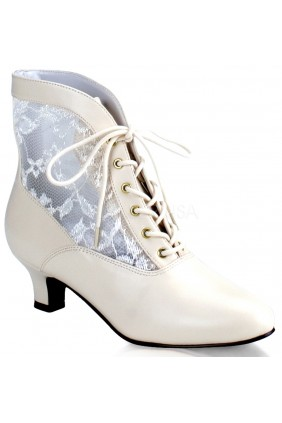 Victorian Dame Ivory Ankle Boot Sensual Elegance Fashion, Lingerie and Shoes Women's Very Sexy Lingerie & Clothing - Clubwear, Bridal Lingerie & Plus Size Lingerie