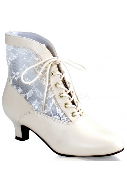 Victorian Dame Ivory Ankle Boot at Sensual Elegance Fashion, Lingerie and Shoes, Women's Sexy Clothing & Lingerie - Clubwear, Plus Size Clothing & Accessories