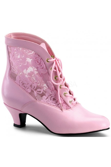 Victorian Dame Baby Pink Ankle Boot at Sensual Elegance Fashion, Lingerie and Shoes, Women's Sexy Clothing & Lingerie - Clubwear, Plus Size Clothing & Accessories