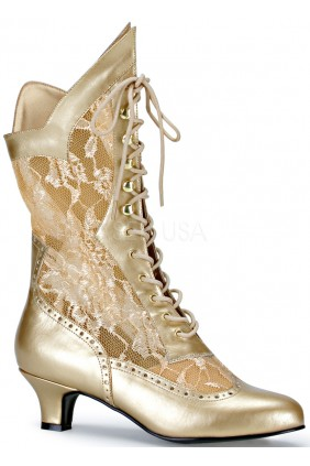 Victorian Dame Gold Lace Boot Sensual Elegance Fashion, Lingerie and Shoes Women's Very Sexy Lingerie & Clothing - Clubwear, Bridal Lingerie & Plus Size Lingerie