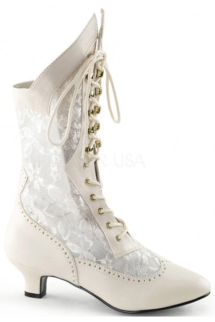 Victorian Dame Ivory Lace Boot at Sensual Elegance Fashion, Lingerie and Shoes, Women's Sexy Clothing & Lingerie - Clubwear, Plus Size Clothing & Accessories