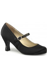 Flapper Black Satin Mary Jane Pump