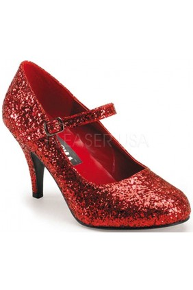 Glinda Red Glittered Mary Jane Pump Sensual Elegance Fashion, Lingerie and Shoes Women's Sexy Clothing & Lingerie - Clubwear, Plus Size Clothing & Accessories