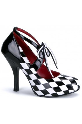 Harlequinn Black and White Checkered Pump Sensual Elegance Fashion, Lingerie and Shoes Women's Very Sexy Lingerie & Clothing - Clubwear, Bridal Lingerie & Plus Size Lingerie