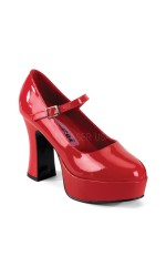 Red Mary Jane Square Heeled Pump