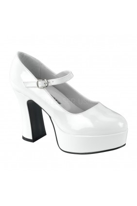 White Mary Jane Square Heeled Pump Sensual Elegance Fashion, Lingerie and Shoes Women's Sexy Clothing & Lingerie - Clubwear, Plus Size Clothing & Accessories