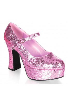 Baby Pink Mary Jane Glitter Square Heeled Pump Sensual Elegance Fashion, Lingerie and Shoes Women's Sexy Clothing & Lingerie - Clubwear, Plus Size Clothing & Accessories