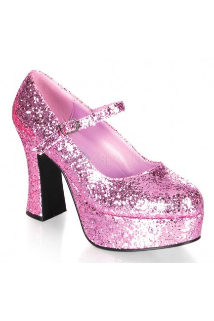 Baby Pink Mary Jane Glitter Square Heeled Pump at Sensual Elegance Fashion, Lingerie and Shoes, Women's Sexy Clothing & Lingerie - Clubwear, Plus Size Clothing & Accessories
