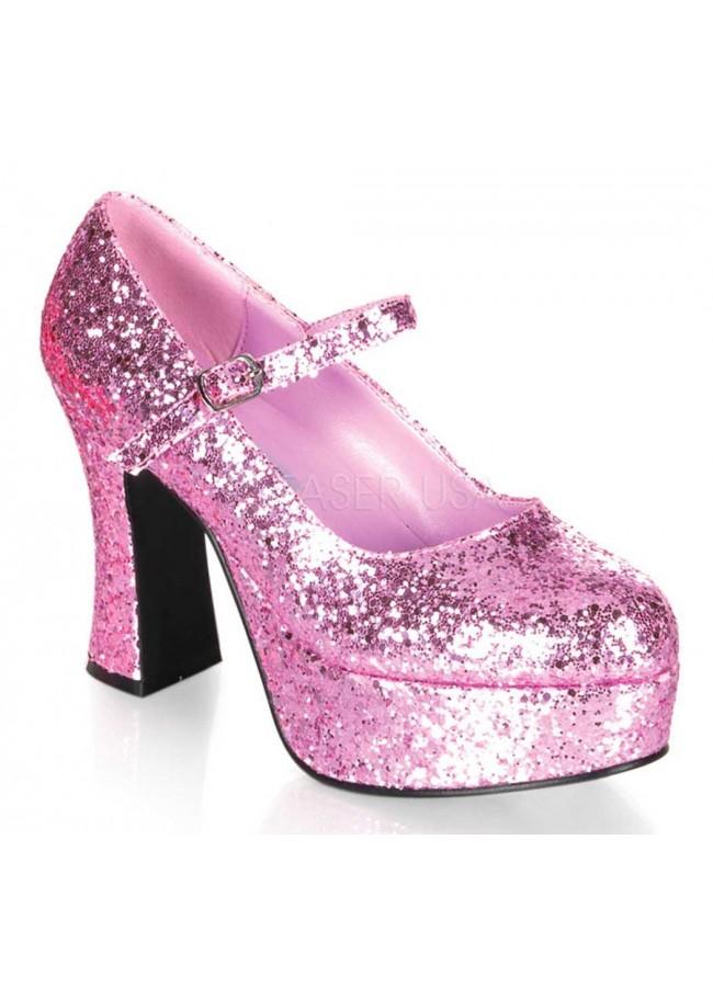 448b2d44802a Baby Pink Mary Jane Glitter Square Heeled Pump at Sensual Elegance Fashion