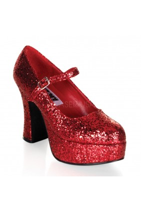 Red Mary Jane Glitter Square Heeled Pump Sensual Elegance Fashion, Lingerie and Shoes Women's Sexy Clothing & Lingerie - Clubwear, Plus Size Clothing & Accessories