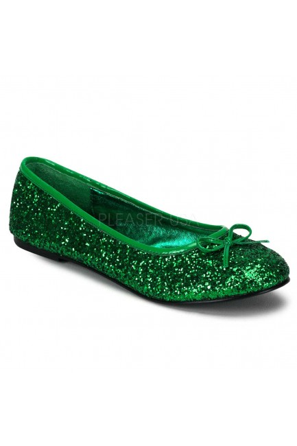 Star Green Glittered Ballet Flat at Sensual Elegance Fashion, Lingerie and Shoes, Women's Sexy Clothing & Lingerie - Clubwear, Plus Size Clothing & Accessories