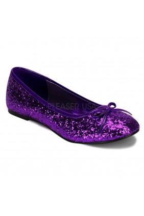 Star Deep Purple Glittered Ballet Flat Sensual Elegance Fashion, Lingerie and Shoes Women's Sexy Clothing & Lingerie - Clubwear, Plus Size Clothing & Accessories