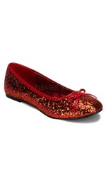Star Red Glittered Ballet Flat