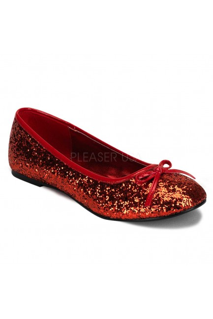 Star Red Glittered Ballet Flat at Sensual Elegance Fashion, Lingerie and Shoes, Women's Sexy Clothing & Lingerie - Clubwear, Plus Size Clothing & Accessories