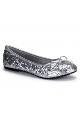 Star Silver Glittered Ballet Flat Sensual Elegance Fashion, Lingerie and Shoes Women's Very Sexy Lingerie & Clothing - Clubwear, Bridal Lingerie & Plus Size Lingerie